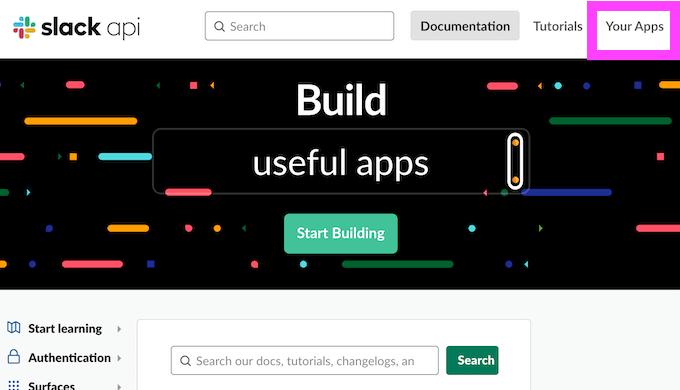 Slack API YourAPPS トップページ