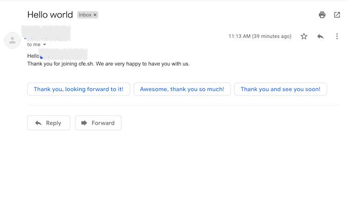 Gmail Hello world 受信結果